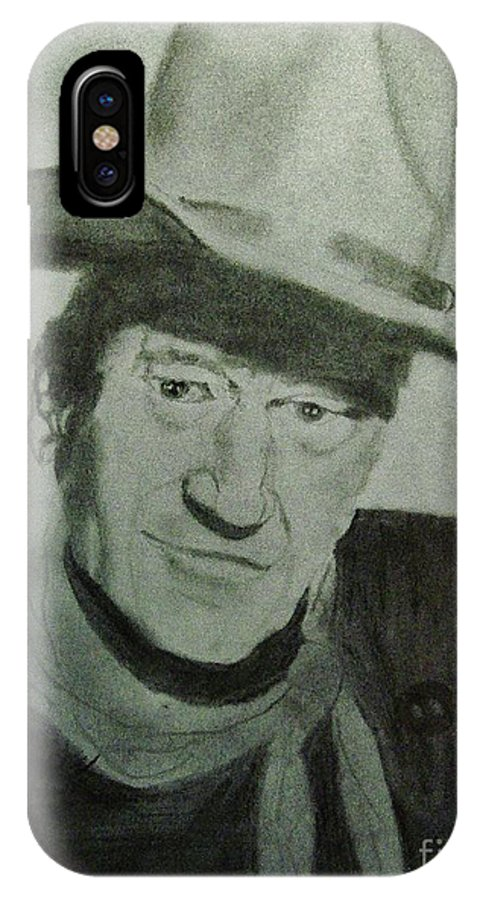 American IPhone X Case featuring the drawing John Wayne by Jack Lepper