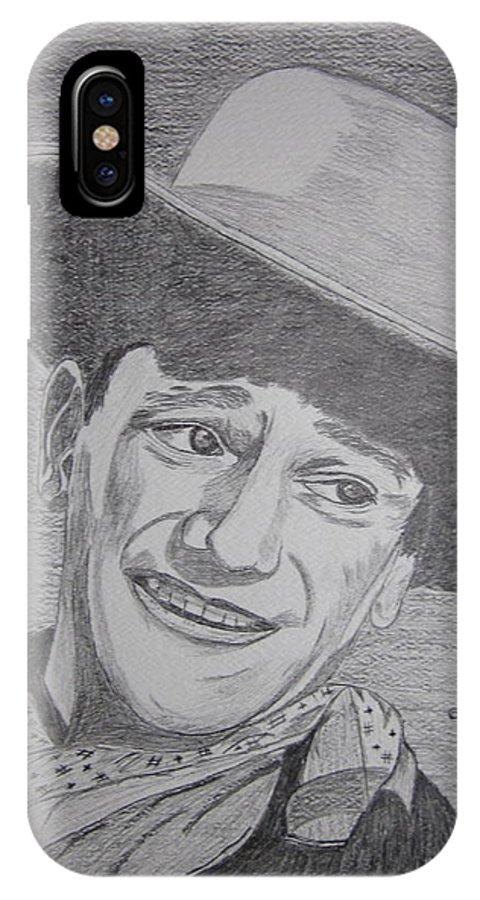 John Wayne IPhone X Case featuring the painting John Wayne by Kathy Marrs Chandler