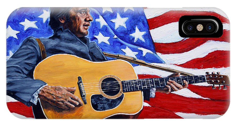 Johnny Cash IPhone X Case featuring the painting Johnny Cash by John Lautermilch