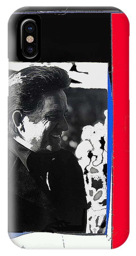 Johnny Cash Smiling Collage Surrealism Old Tucson Arizona IPhone X Case featuring the photograph Johnny Cash Smiling Collage 1971-2008 by David Lee Guss