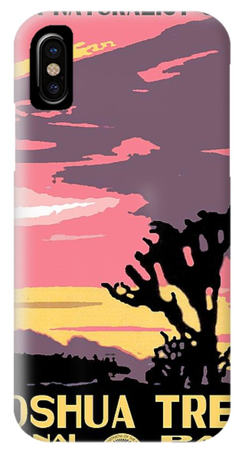 Vintage IPhone X Case featuring the photograph Joshua Tree National Park Vintage Poster by Eric Glaser