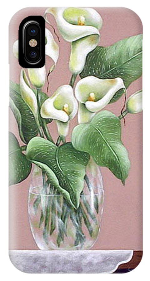 Oil IPhone X Case featuring the painting Josies Lilies by Ruth Bares