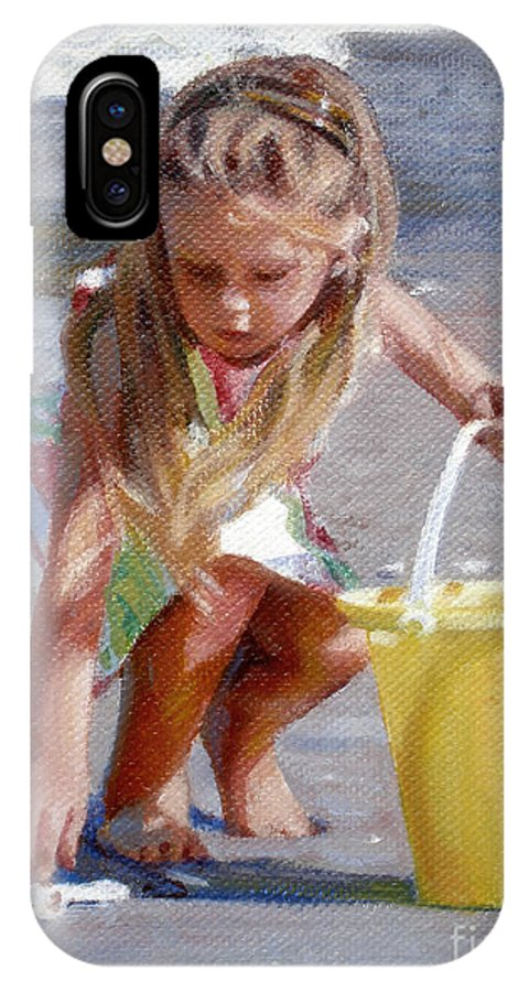 Girl IPhone X / XS Case featuring the painting Julia's Yellow Pail by Candace Lovely