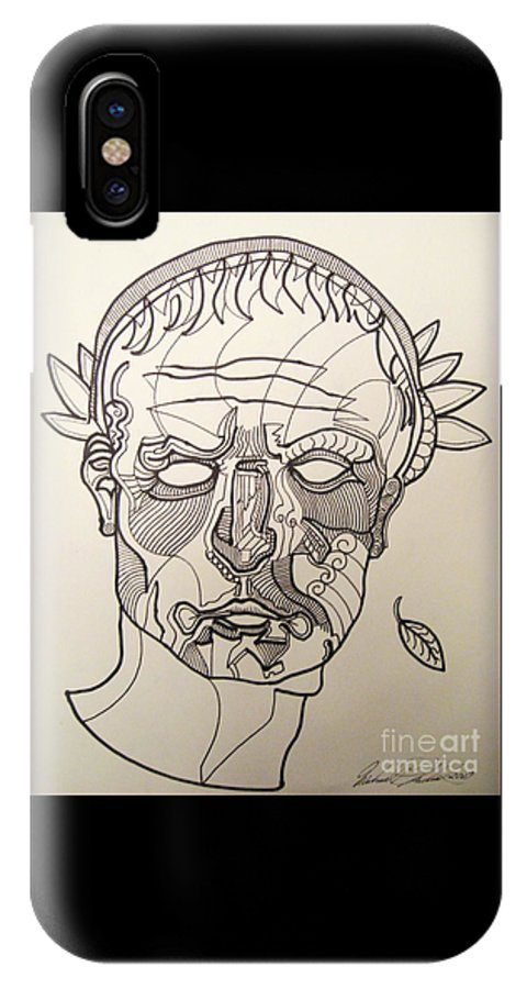 Michael Kulick IPhone X Case featuring the drawing Julius Caesar by Michael Kulick
