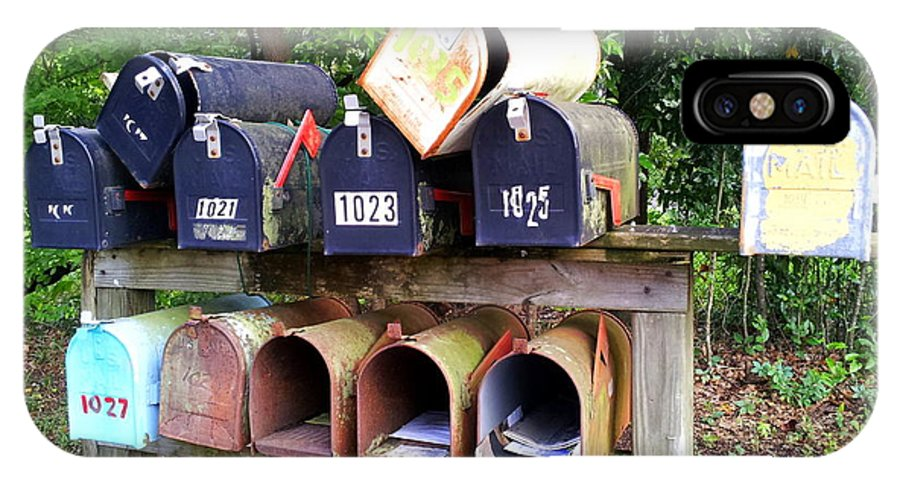 Mailbox IPhone X Case featuring the photograph Jumbled Mailboxes by Carla Parris