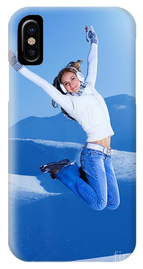 Action IPhone X Case featuring the photograph Jumping Girl by Anna Om