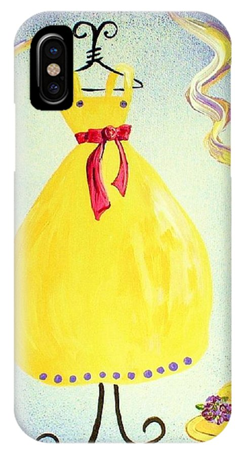 Dress IPhone X Case featuring the painting Just A Simple Hat And Dress by Eloise Schneider Mote