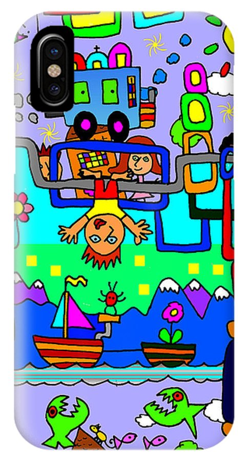 Doodle Art IPhone X Case featuring the digital art Just Hanging Around by Corey Couturier