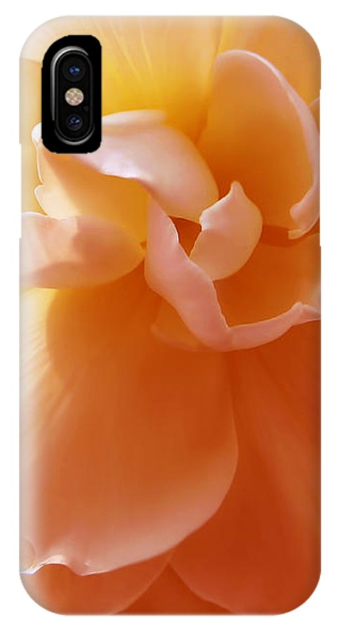 Begonia IPhone X Case featuring the photograph Just Peachy Begonia Flower by Jennie Marie Schell