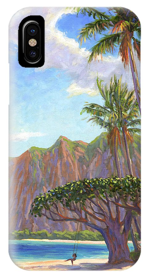 Kaaawa IPhone X Case featuring the painting Kaaawa Beach - Oahu by Steve Simon