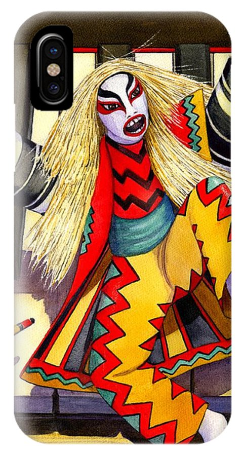 Kabuki IPhone X Case featuring the painting Kabuki Chopsticks 3 by Catherine G McElroy