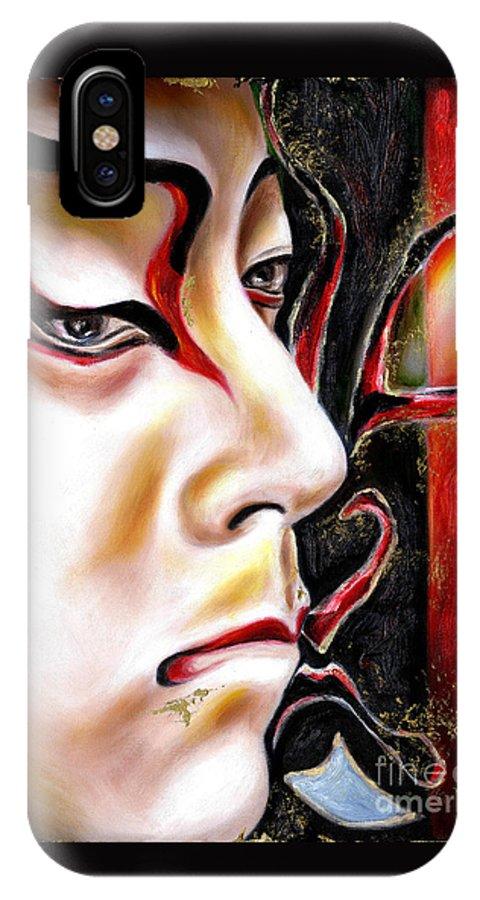 Kabuki IPhone X Case featuring the painting KABUKI three by Hiroko Sakai