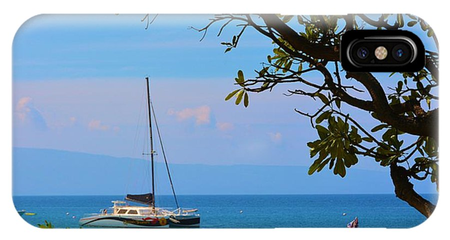 Boat IPhone X Case featuring the photograph Kahanapali Beach Maui by Richard Jenkins