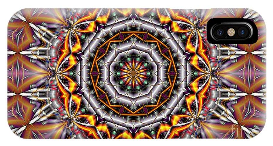 Kaleidoscope IPhone X / XS Case featuring the digital art Kaleidoscope 41 by Ron Bissett