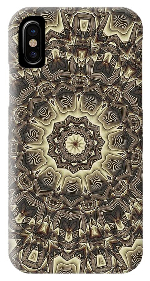 Kaleidoscope IPhone X Case featuring the digital art Kaleidoscope 66 by Ron Bissett