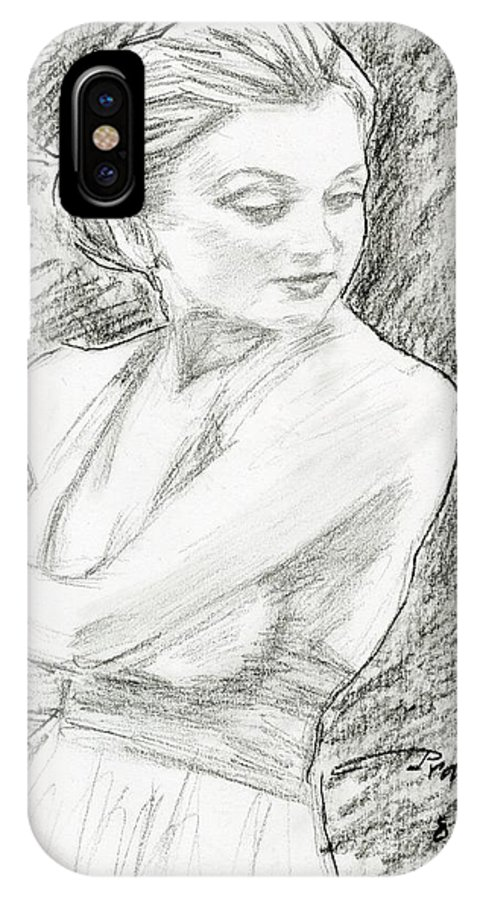 Figure IPhone X Case featuring the drawing Kaley Cuoco by Horacio Prada