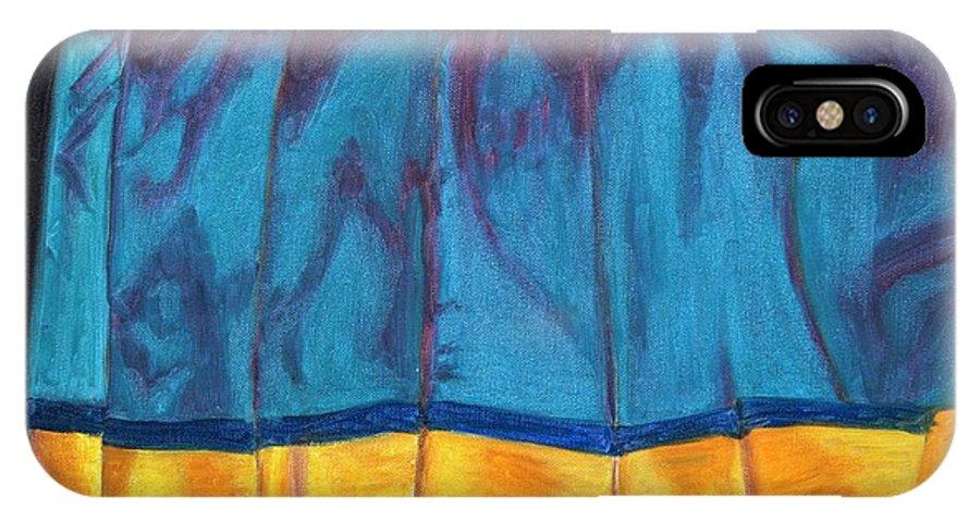 Kanchee IPhone X Case featuring the painting Kanchi Saree by Usha Shantharam