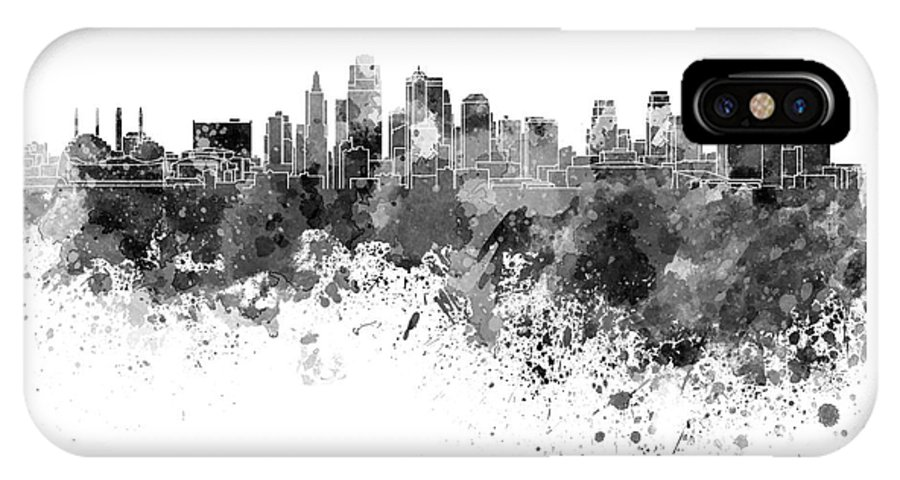 Kansas City Skyline In Black Watercolor On White Background Iphone X Case
