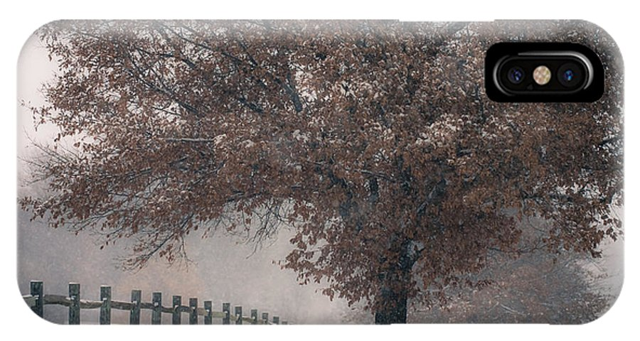 Snow IPhone X Case featuring the photograph Kansas Snowstorm - Tree And Fence by Scott Sewell