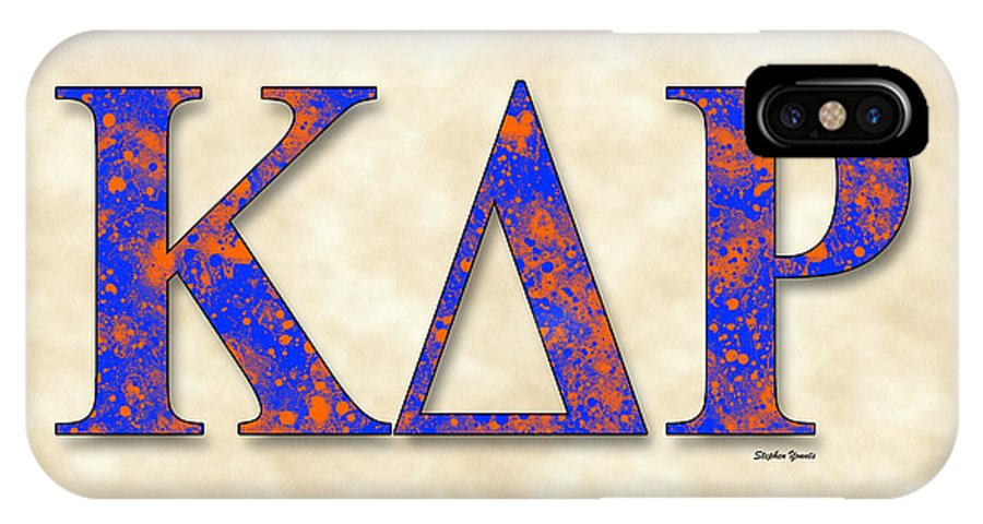 Kappa Delta Rho IPhone X Case featuring the digital art Kappa Delta Rho - Parchment by Stephen Younts