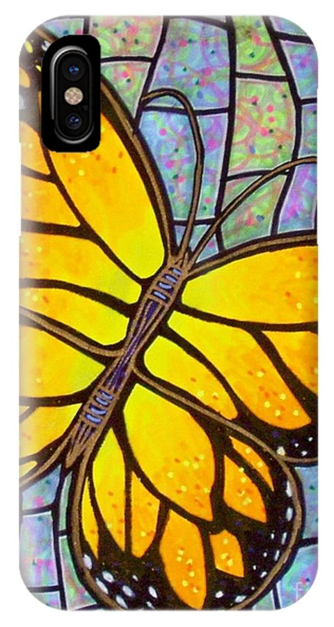Butterflies IPhone X Case featuring the painting Karens Butterfly by Jim Harris
