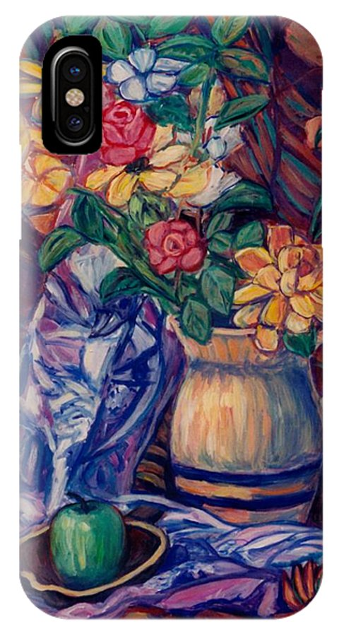 Still Life IPhone X Case featuring the painting Karens Gift by Kendall Kessler