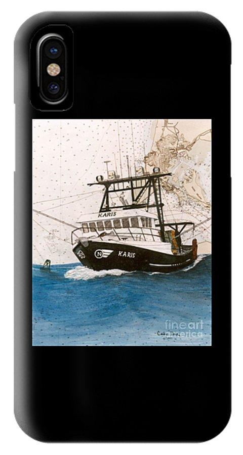 Karis IPhone X Case featuring the painting Karis Trawl Fishing Boat Nautical Chart Art by Cathy Peek