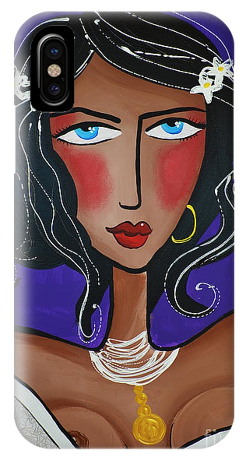 Woman IPhone X Case featuring the painting Katerina by Maria Sopoglidou