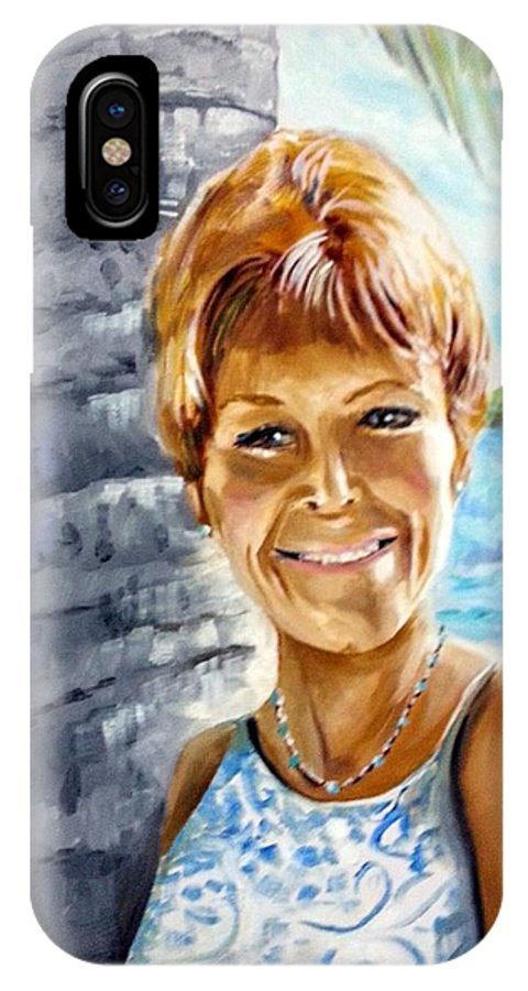 Portrait IPhone X Case featuring the painting Kathy Smiles by David Francke