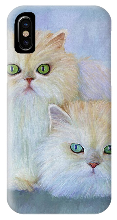 Cat IPhone X Case featuring the painting Katrina And Bjorn by David Wagner