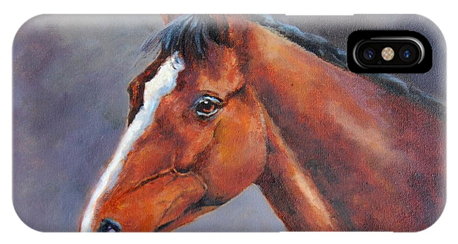 Thoroughbred IPhone X Case featuring the painting Kauto Star by Jacinta Crowley-Long