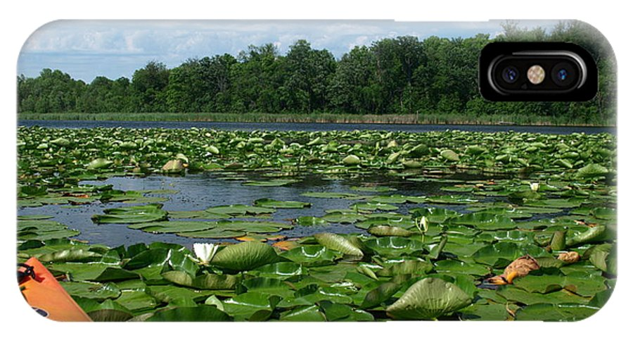Nature IPhone X Case featuring the photograph Kayaking Among The Waterlillies by James Peterson