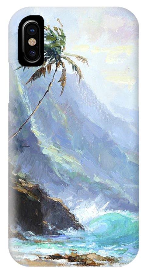 Beach IPhone X Case featuring the painting Ke'e Beach by Jenifer Prince