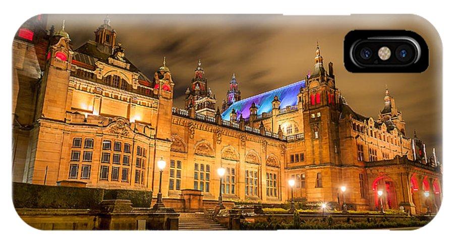 Scotland IPhone X / XS Case featuring the photograph Kelvingrove Art Gallery At Night by Paul Bradburn