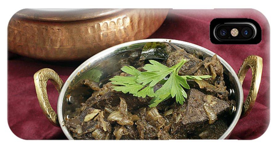 Liver IPhone X Case featuring the photograph Kerala Mutton Liver Fry Horizontal by Paul Cowan
