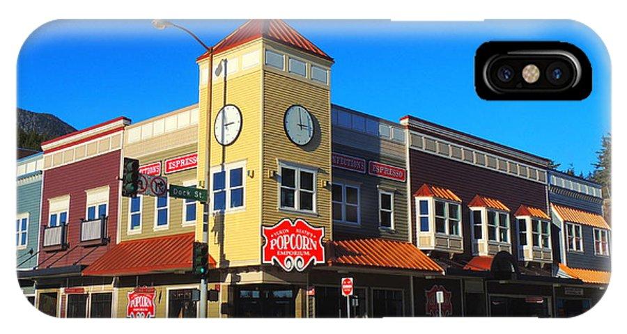 Ketchikan IPhone X Case featuring the photograph Ketchikan Clock Tower by Karen Horn