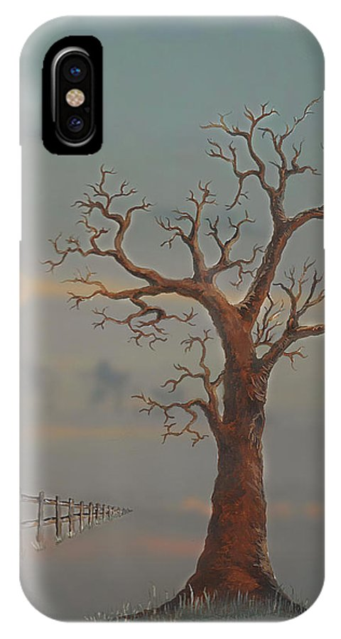 Tree IPhone X Case featuring the painting Kevin's Moon by Phil Rushton