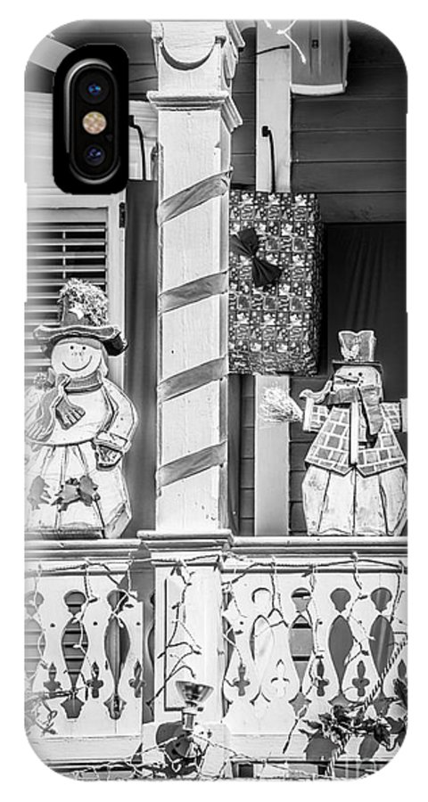 America IPhone X Case featuring the photograph Key West Christmas Decorations 2 - Black And White by Ian Monk