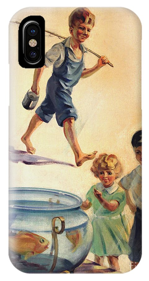 Children IPhone X Case featuring the painting Kids And Fishing 1934 by Art By Tolpo Collection