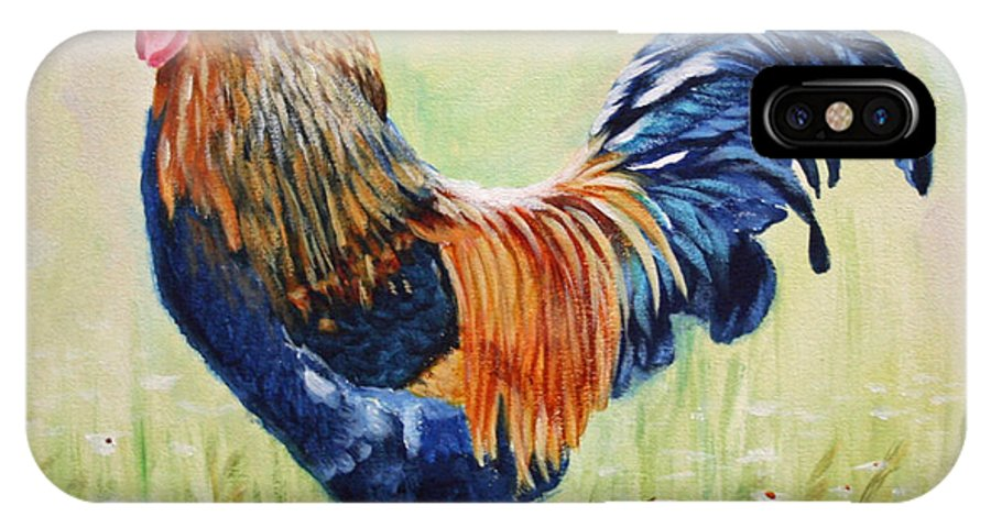 Rooster IPhone X / XS Case featuring the painting King Of The Barnyard by Jimmie Bartlett