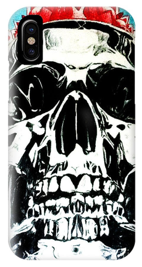 Skulls IPhone X Case featuring the drawing King Til Death by Carlos Morel