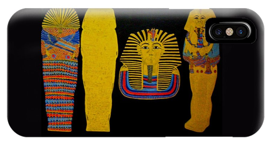 Egypt IPhone X Case featuring the painting King Tut by Leslye Miller