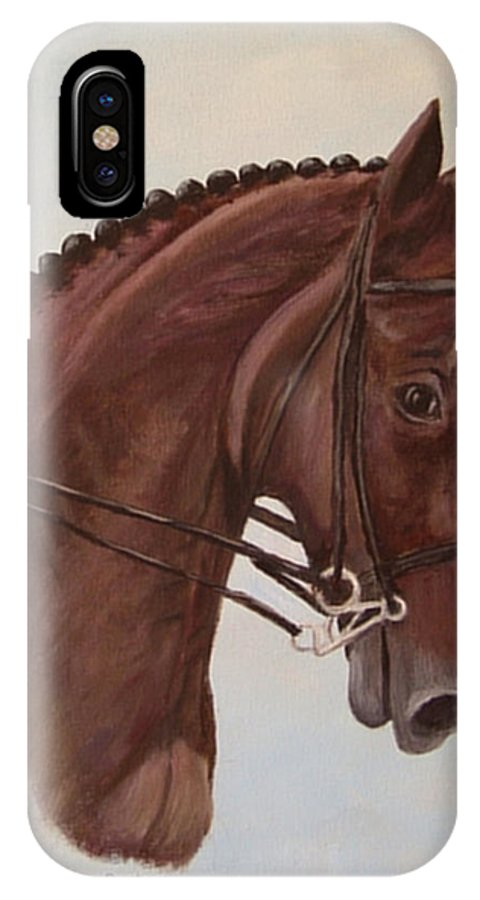Horse IPhone X Case featuring the painting Kingd'azur by Quwatha Valentine