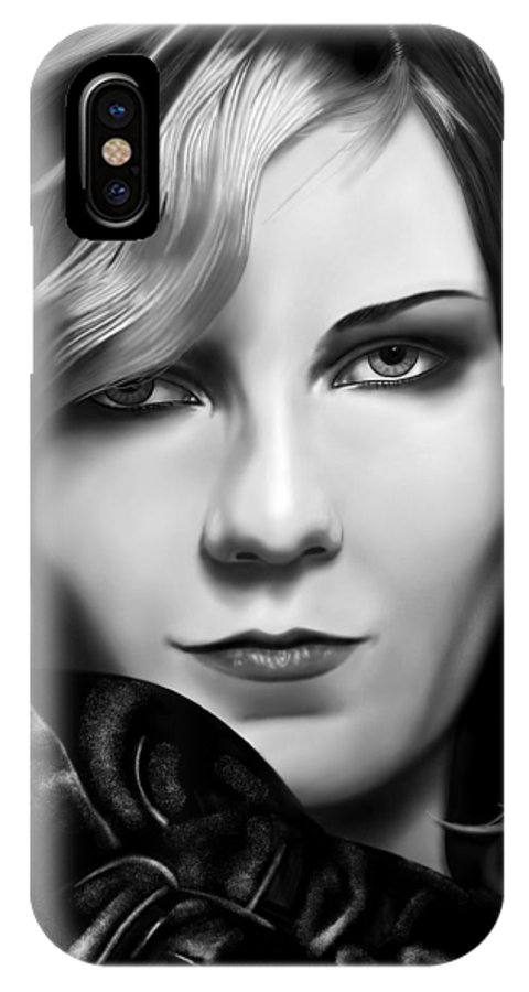 Kirsten Dunst Portrait Black And White Portrait Of Kirsten Dunst. IPhone X Case featuring the painting Kirsten Dunst by Andrew Harrison