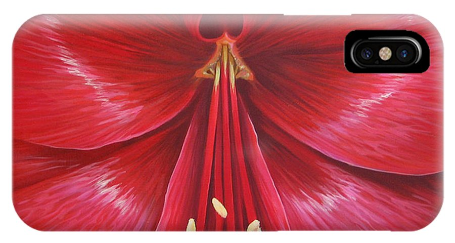 Botanical; Flower IPhone X Case featuring the painting Kiss Of Life by Hunter Jay