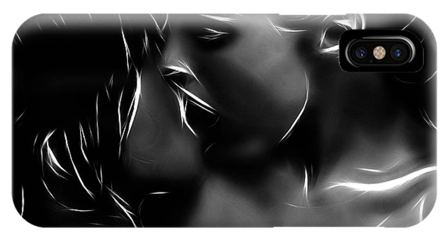Girl Woman Female Kiss Kissing Lesbian Sexy Beauty Nude Naked Erotic Black White Expressionism Abstract Sensual IPhone X Case featuring the painting Kissing A Girl by Steve K