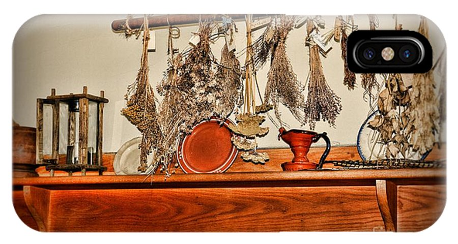Paul Ward IPhone X Case featuring the photograph Kitchen - Herbs Drying Over The Mantel by Paul Ward