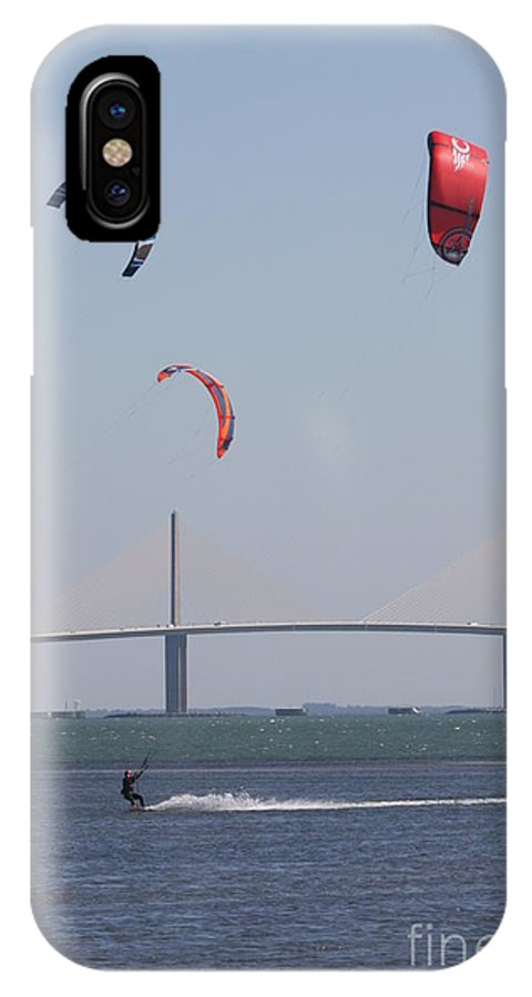 Bridge IPhone X Case featuring the photograph Kite Surfer And Skyway Bridge by Christiane Schulze Art And Photography
