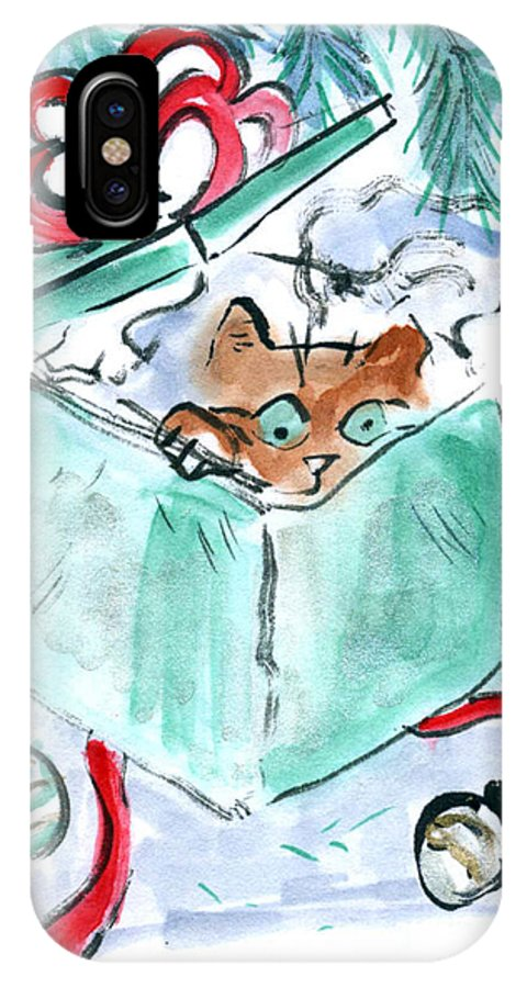 Sumi-e IPhone X Case featuring the painting Kitten In A Shredded Present by Ellen Miffitt
