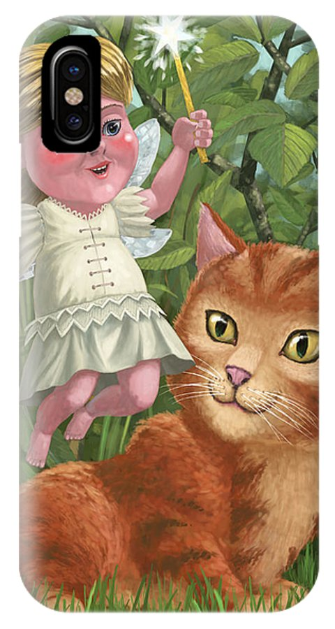 Girl IPhone X Case featuring the painting Kitten With Girl Fairy In Garden by Martin Davey